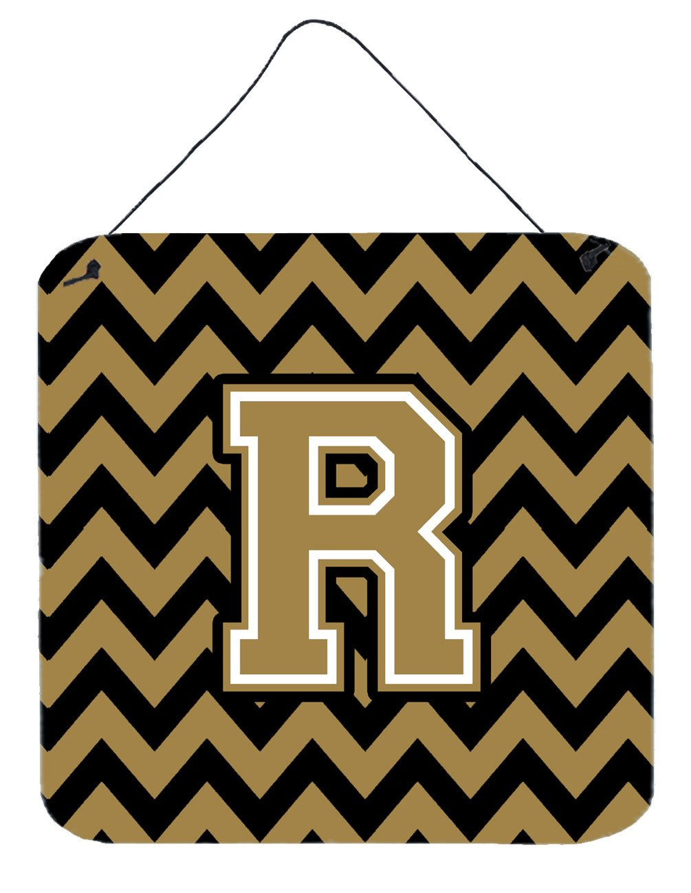 Letter R Chevron Black and Gold  Wall or Door Hanging Prints CJ1050-RDS66 by Caroline's Treasures