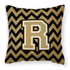 Letter R Chevron Black and Gold  Fabric Decorative Pillow CJ1050-RPW1414 by Caroline's Treasures