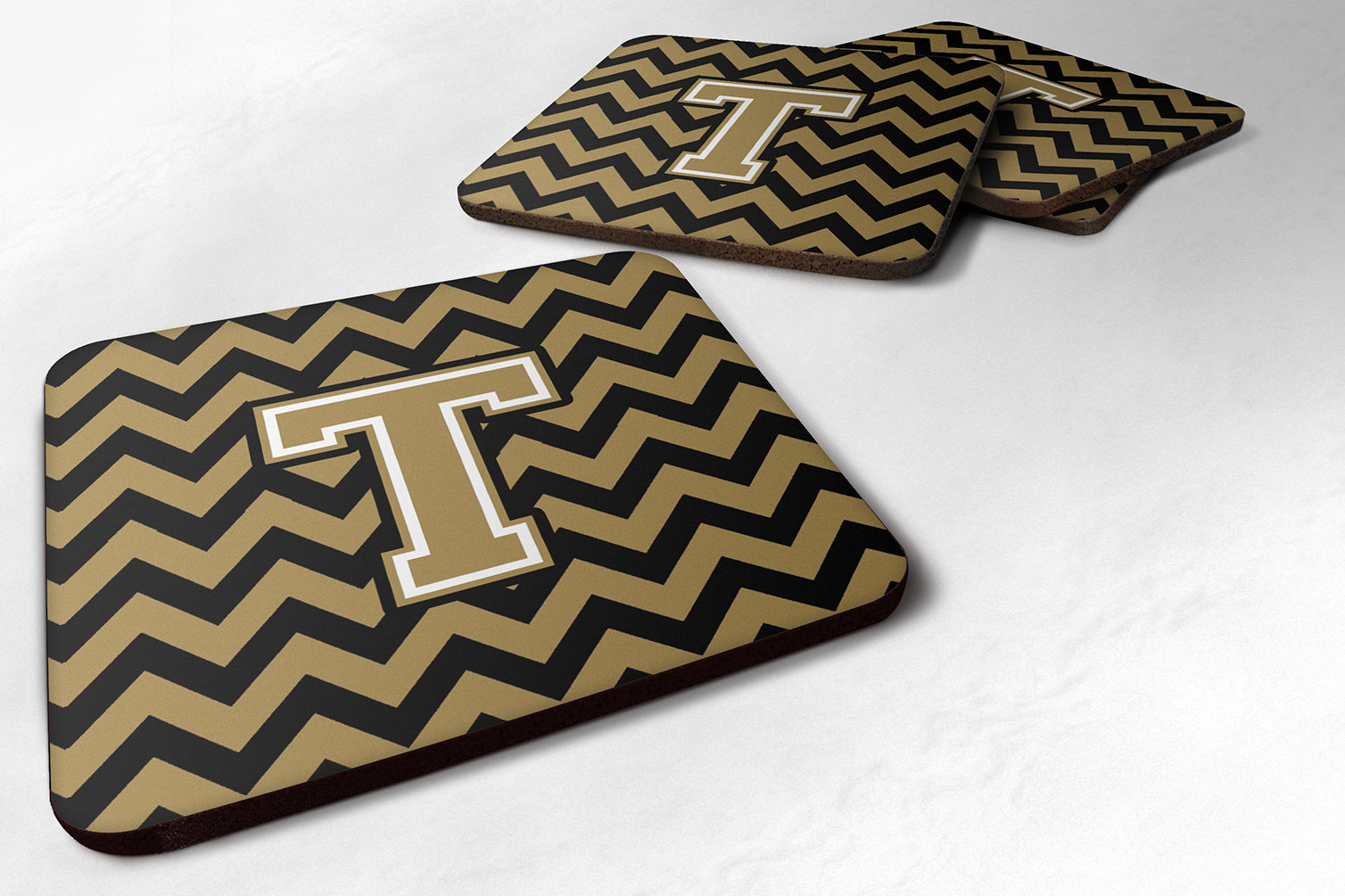 Letter T Chevron Black and Gold  Foam Coaster Set of 4 CJ1050-TFC by Caroline's Treasures