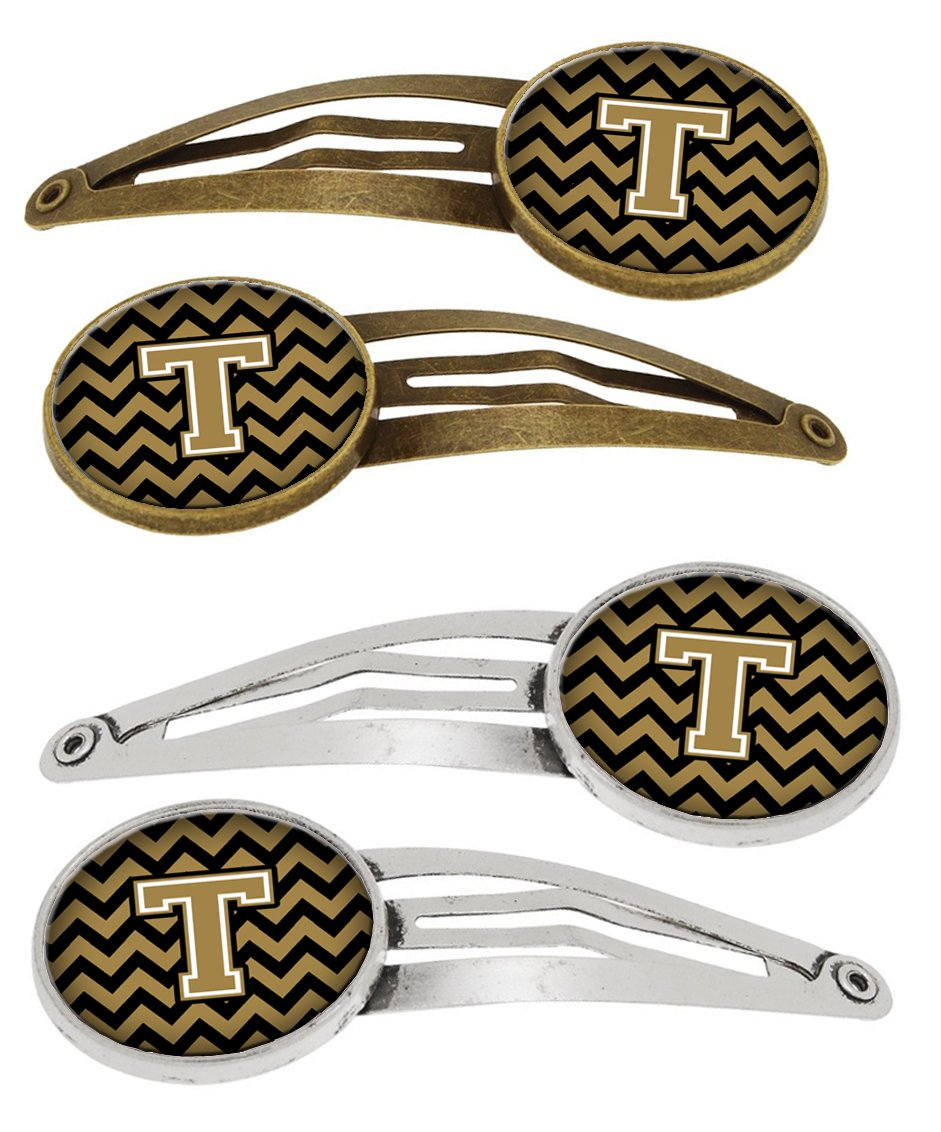 Buy this Letter T Chevron Black and Gold Set of 4 Barrettes Hair Clips CJ1050-THCS4
