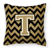Letter T Chevron Black and Gold  Fabric Decorative Pillow CJ1050-TPW1414 by Caroline's Treasures