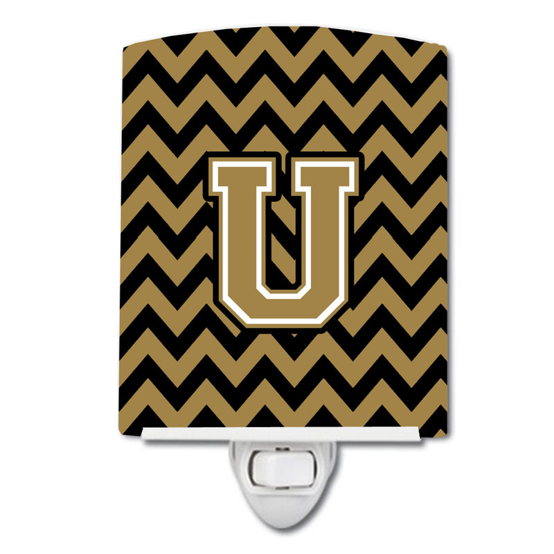 Buy this Letter U Chevron Black and Gold  Ceramic Night Light CJ1050-UCNL