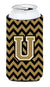 Buy this Letter U Chevron Black and Gold  Tall Boy Beverage Insulator Hugger CJ1050-UTBC