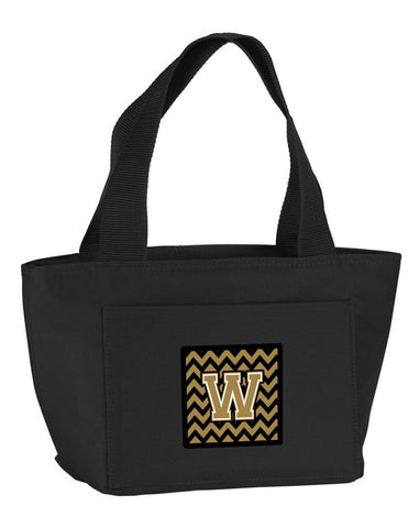 Buy this Letter W Chevron Black and Gold  Lunch Bag CJ1050-WBK-8808