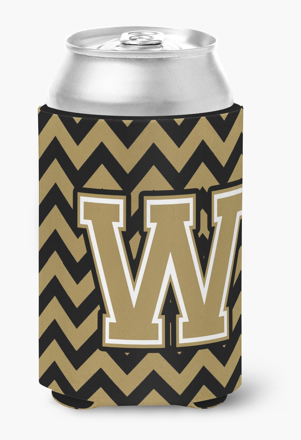 Buy this Letter W Chevron Black and Gold  Can or Bottle Hugger CJ1050-WCC