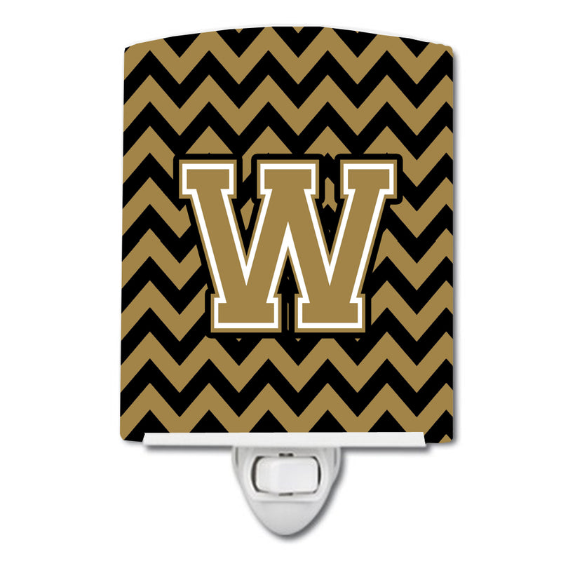 Buy this Letter W Chevron Black and Gold  Ceramic Night Light CJ1050-WCNL