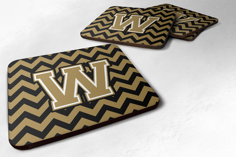 Buy this Letter W Chevron Black and Gold  Foam Coaster Set of 4 CJ1050-WFC