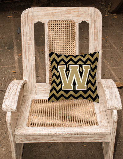 Letter W Chevron Black and Gold  Fabric Decorative Pillow CJ1050-WPW1414