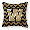 Buy this Letter W Chevron Black and Gold  Fabric Decorative Pillow CJ1050-WPW1414