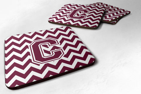 Buy this Letter C Chevron Maroon and White  Foam Coaster Set of 4 CJ1051-CFC