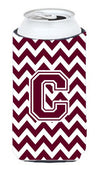 Letter C Chevron Maroon and White  Tall Boy Beverage Insulator Hugger CJ1051-CTBC by Caroline's Treasures