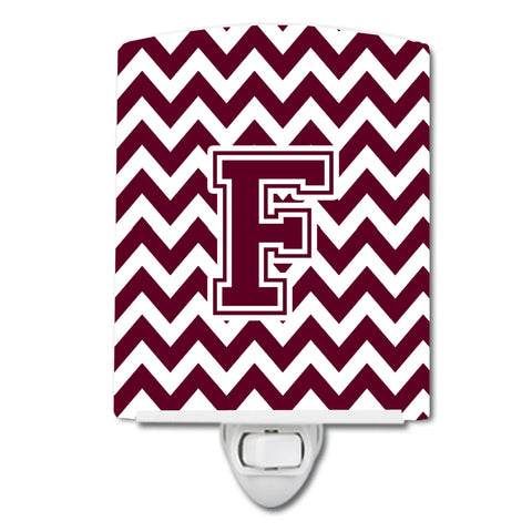 Buy this Letter F Chevron Maroon and White  Ceramic Night Light CJ1051-FCNL
