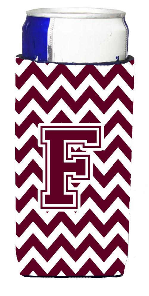 Letter F Chevron Maroon and White  Ultra Beverage Insulators for slim cans CJ1051-FMUK by Caroline's Treasures