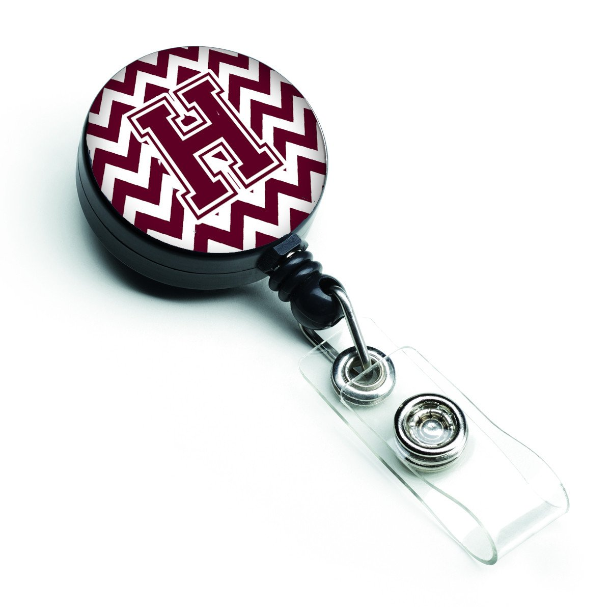 Letter H Chevron Maroon and White  Retractable Badge Reel CJ1051-HBR by Caroline's Treasures