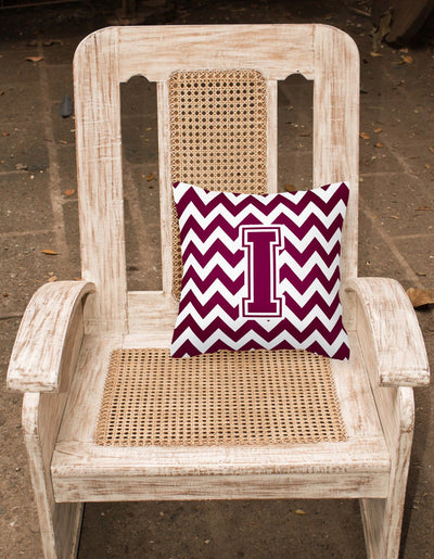 Letter I Chevron Maroon and White  Fabric Decorative Pillow CJ1051-IPW1414