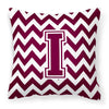 Buy this Letter I Chevron Maroon and White  Fabric Decorative Pillow CJ1051-IPW1414