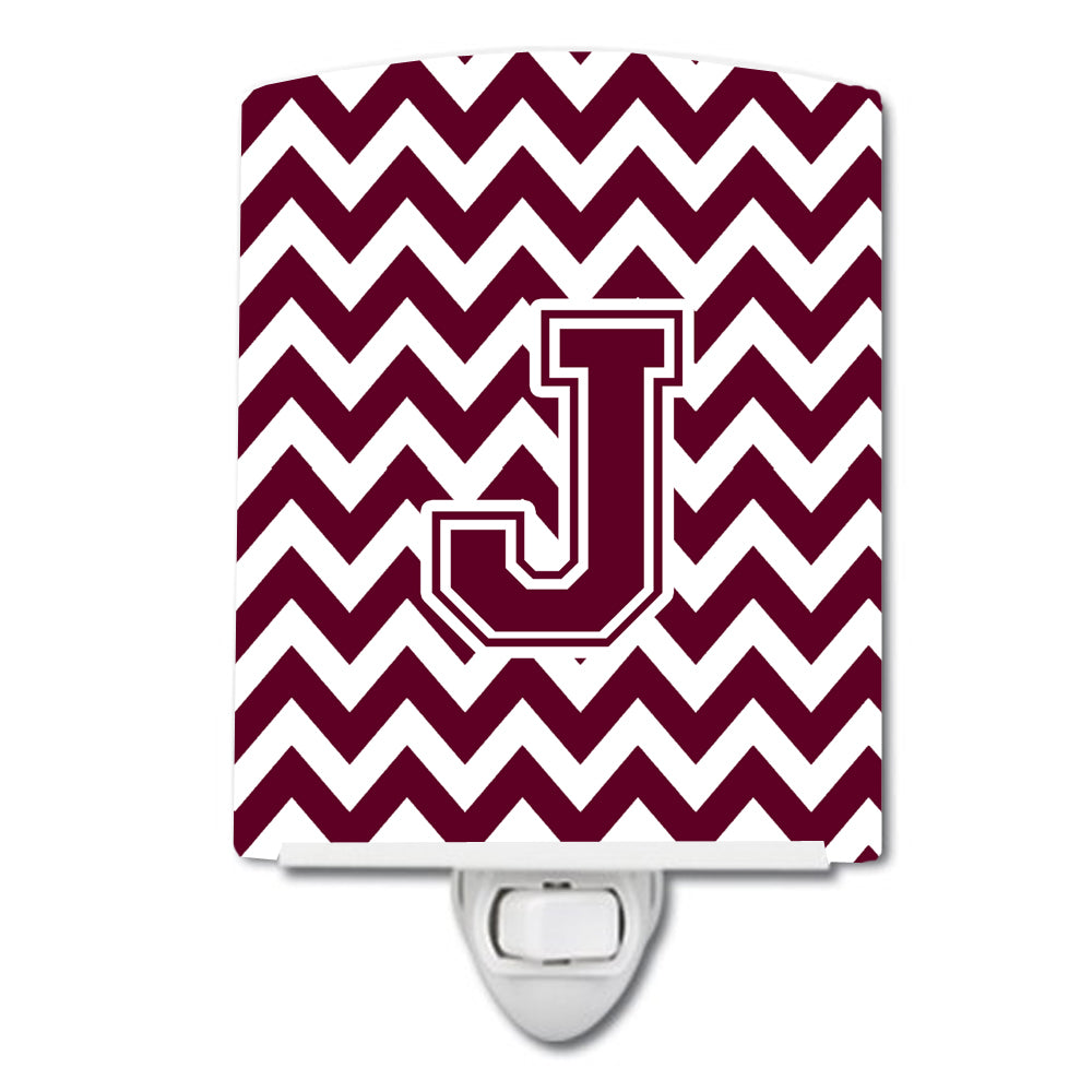 Letter J Chevron Maroon and White  Ceramic Night Light CJ1051-JCNL by Caroline's Treasures
