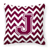 Letter J Chevron Maroon and White  Fabric Decorative Pillow CJ1051-JPW1414 by Caroline's Treasures