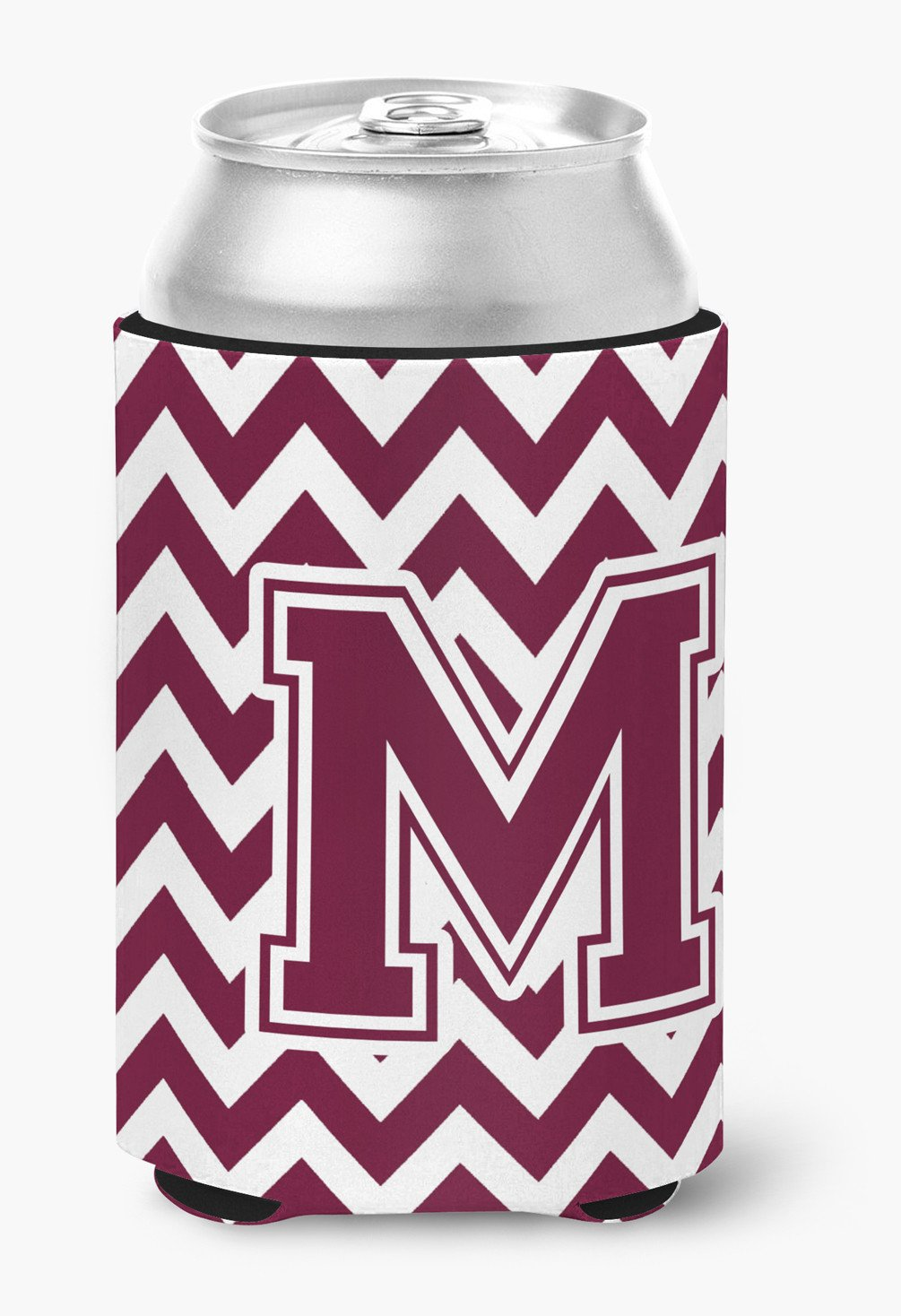 Letter M Chevron Maroon and White  Can or Bottle Hugger CJ1051-MCC by Caroline's Treasures