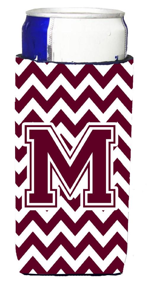 Letter M Chevron Maroon and White  Ultra Beverage Insulators for slim cans CJ1051-MMUK by Caroline's Treasures