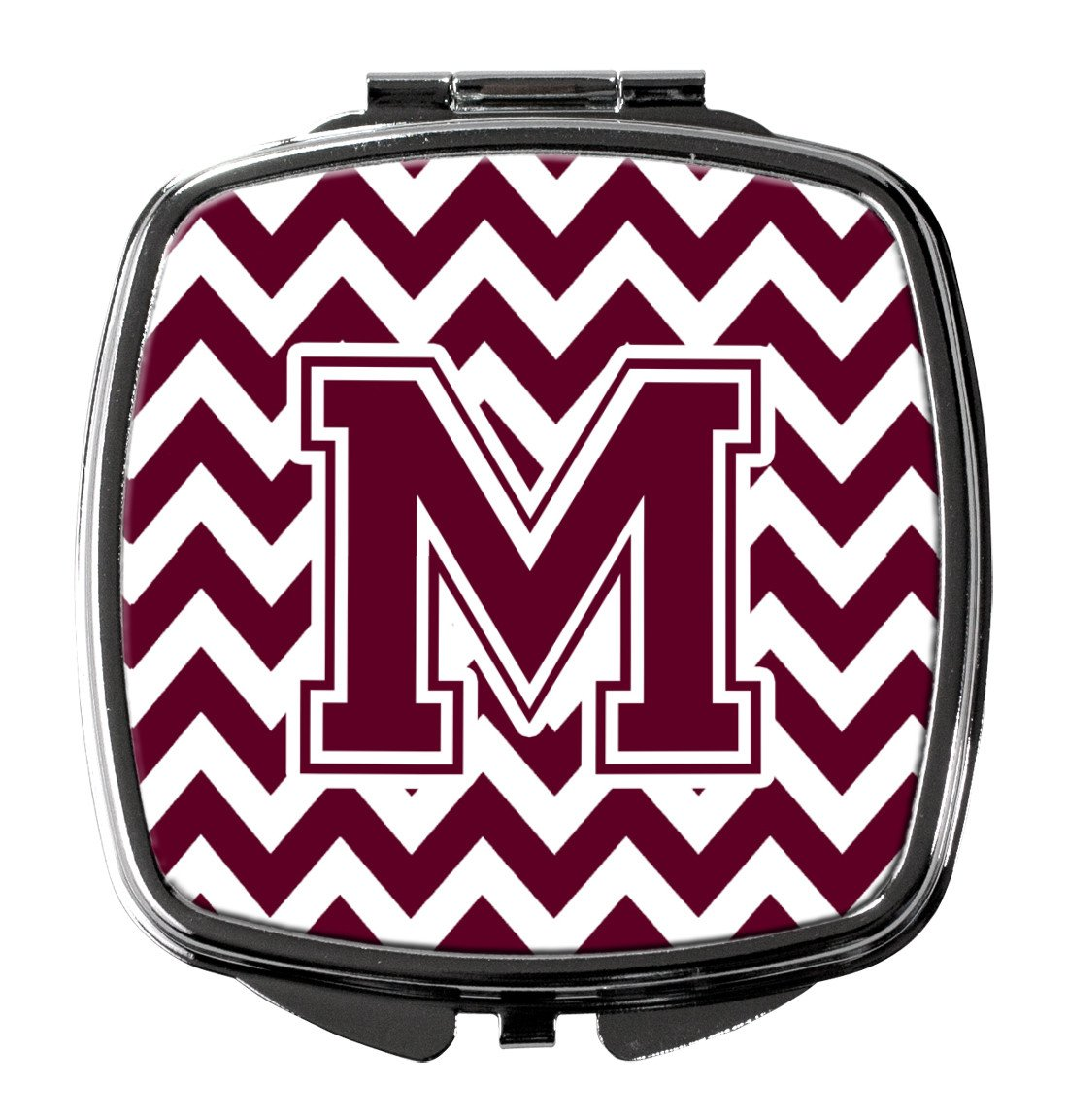 Letter M Chevron Maroon and White  Compact Mirror CJ1051-MSCM by Caroline's Treasures