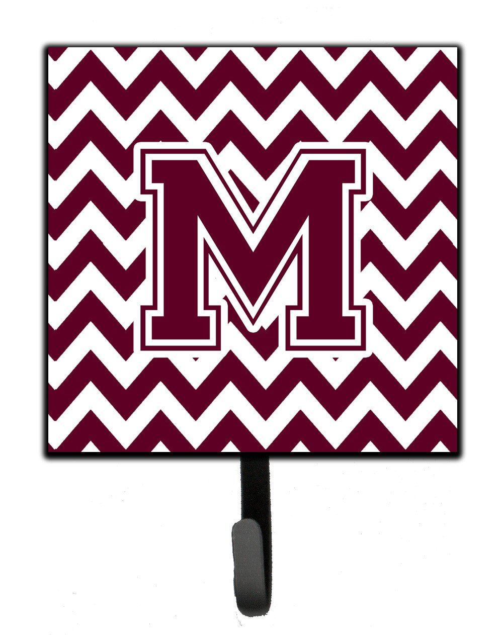 Letter M Chevron Maroon and White  Leash or Key Holder CJ1051-MSH4 by Caroline's Treasures