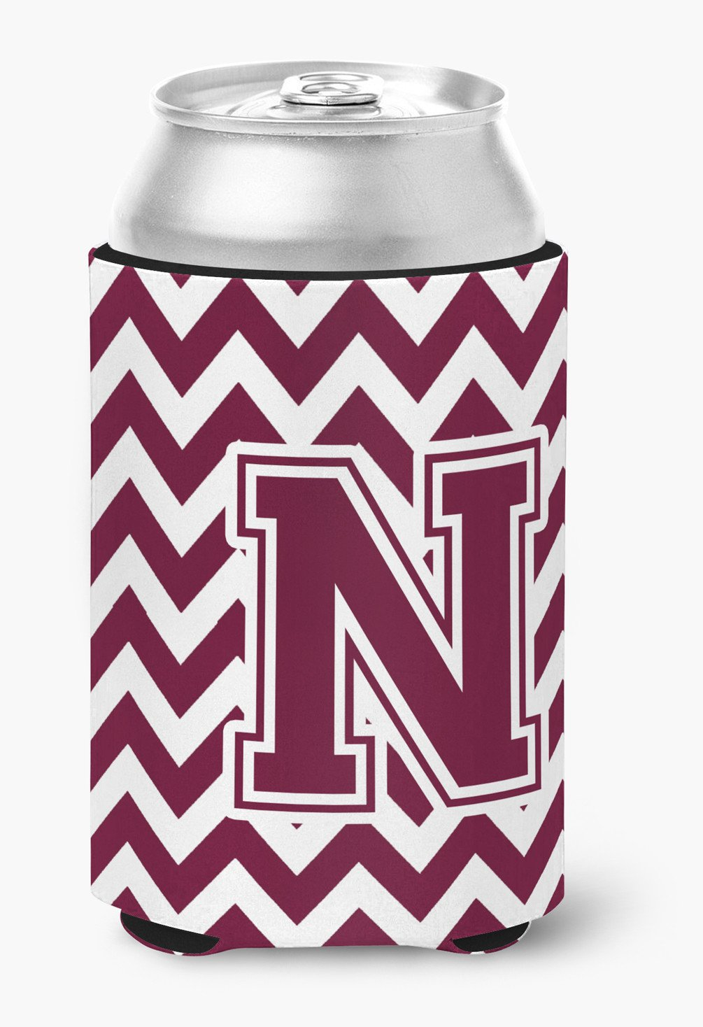 Letter N Chevron Maroon and White  Can or Bottle Hugger CJ1051-NCC by Caroline's Treasures