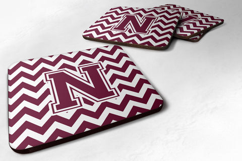 Buy this Letter N Chevron Maroon and White  Foam Coaster Set of 4 CJ1051-NFC