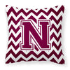 Letter N Chevron Maroon and White  Fabric Decorative Pillow CJ1051-NPW1414 by Caroline's Treasures