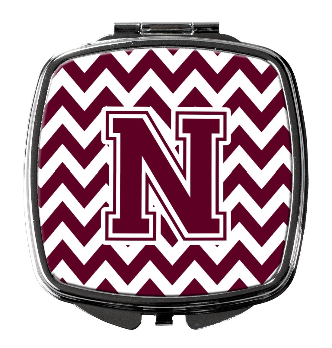 Letter N Chevron Maroon and White  Compact Mirror CJ1051-NSCM by Caroline's Treasures
