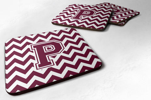 Buy this Letter P Chevron Maroon and White  Foam Coaster Set of 4 CJ1051-PFC