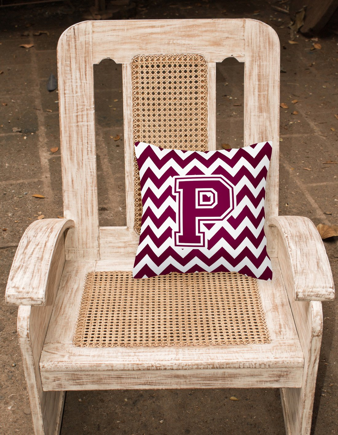 Letter P Chevron Maroon and White  Fabric Decorative Pillow CJ1051-PPW1414 by Caroline's Treasures