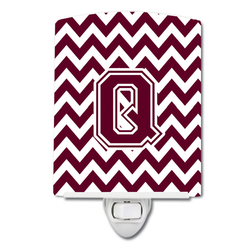 Buy this Letter Q Chevron Maroon and White  Ceramic Night Light CJ1051-QCNL