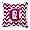 Buy this Letter Q Chevron Maroon and White  Fabric Decorative Pillow CJ1051-QPW1414