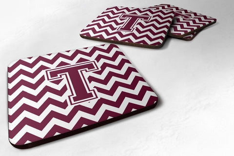 Buy this Letter T Chevron Maroon and White  Foam Coaster Set of 4 CJ1051-TFC