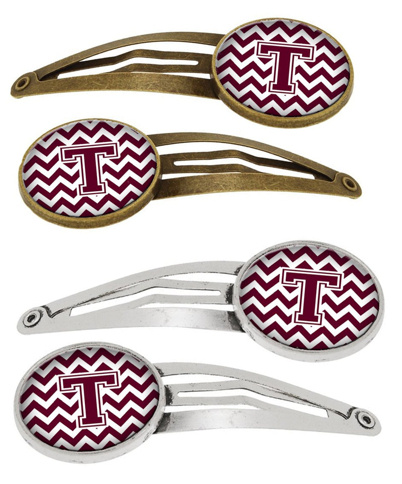 Buy this Letter T Chevron Maroon and White Set of 4 Barrettes Hair Clips CJ1051-THCS4
