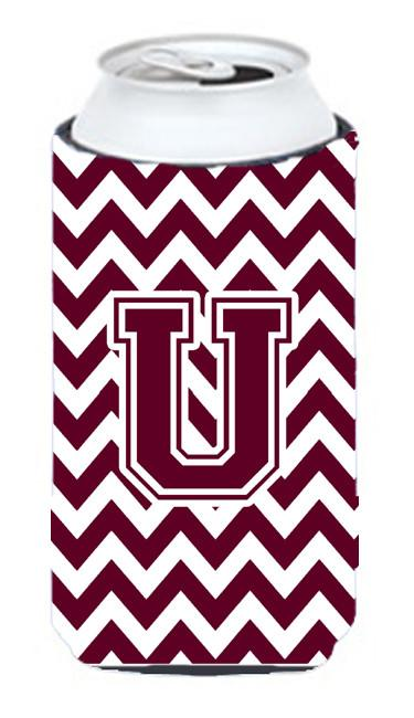 Buy this Letter U Chevron Maroon and White  Tall Boy Beverage Insulator Hugger CJ1051-UTBC