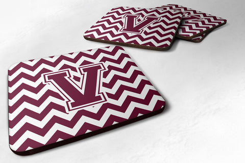 Buy this Letter V Chevron Maroon and White  Foam Coaster Set of 4 CJ1051-VFC