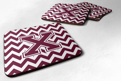 Buy this Letter X Chevron Maroon and White  Foam Coaster Set of 4 CJ1051-XFC