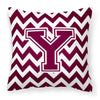 Letter Y Chevron Maroon and White  Fabric Decorative Pillow CJ1051-YPW1414 by Caroline's Treasures