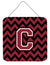 Letter C Chevron Garnet and Black  Wall or Door Hanging Prints CJ1052-CDS66 by Caroline's Treasures
