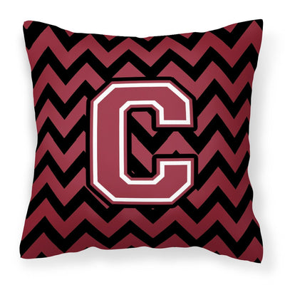 Buy this Letter C Chevron Garnet and Black  Fabric Decorative Pillow CJ1052-CPW1414