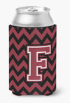 Letter F Chevron Garnet and Black  Can or Bottle Hugger CJ1052-FCC by Caroline's Treasures