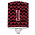 Letter I Chevron Garnet and Black  Ceramic Night Light CJ1052-ICNL by Caroline's Treasures