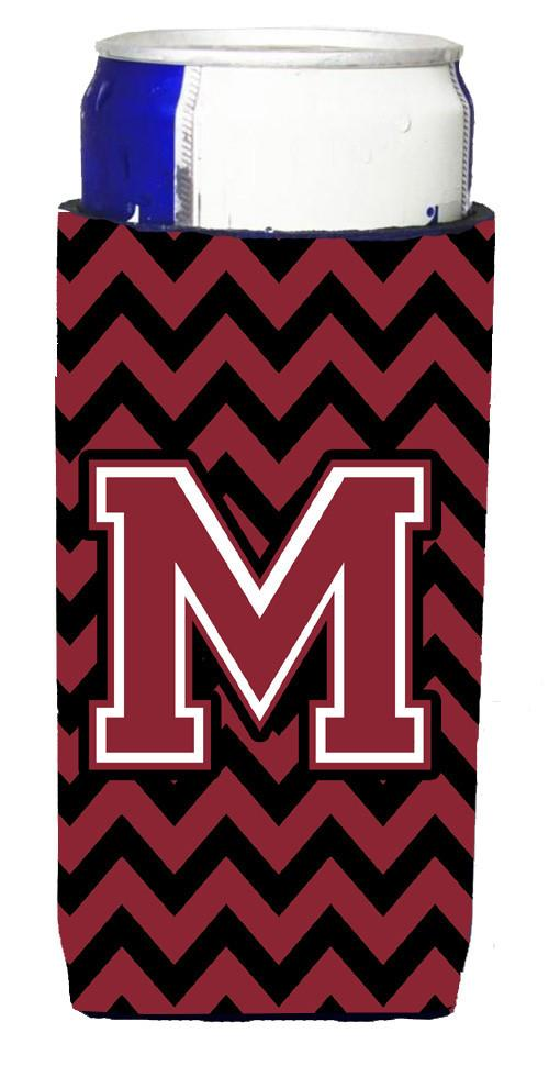 Letter M Chevron Garnet and Black  Ultra Beverage Insulators for slim cans CJ1052-MMUK by Caroline's Treasures