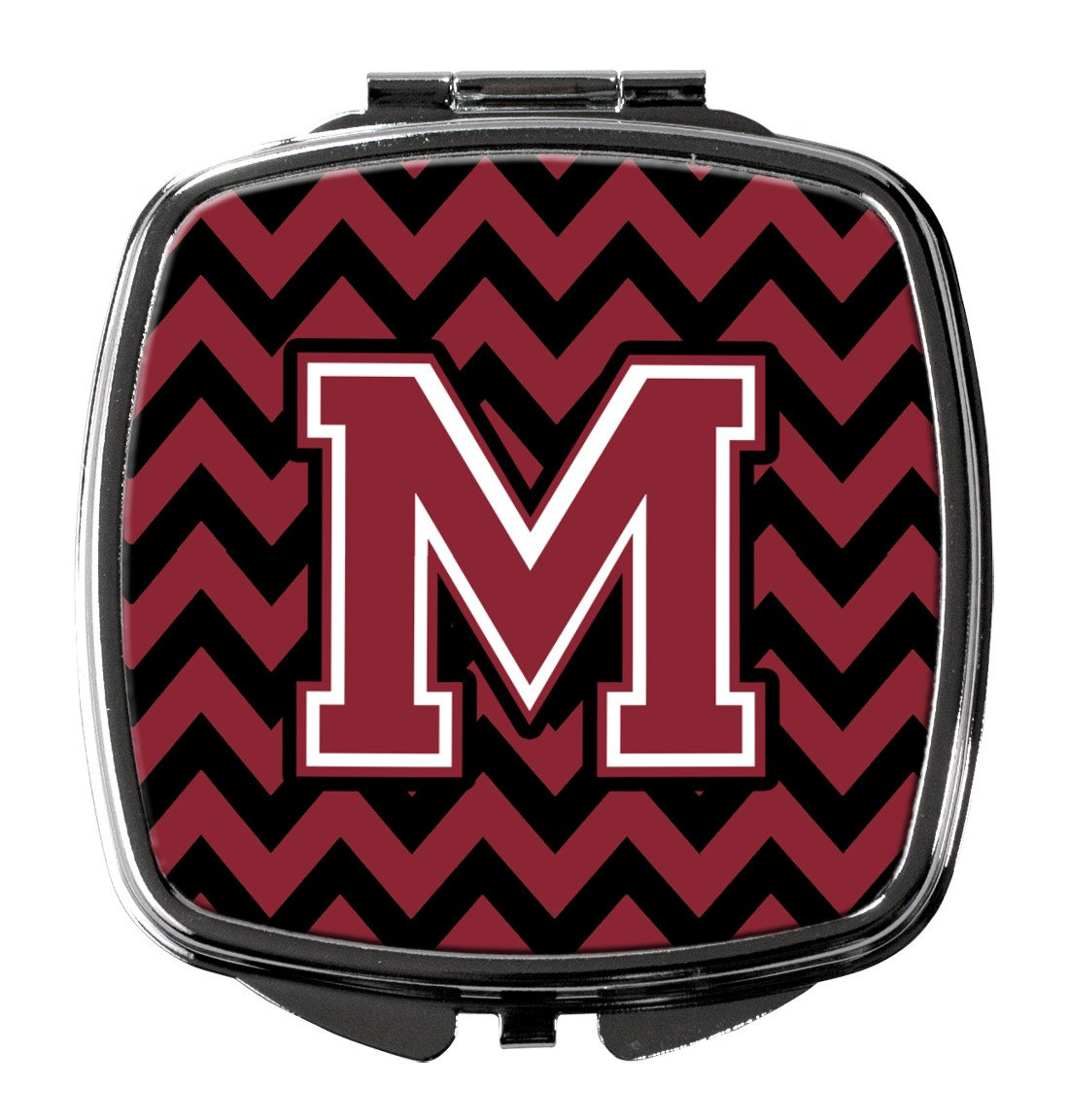 Letter M Chevron Garnet and Black  Compact Mirror CJ1052-MSCM by Caroline's Treasures