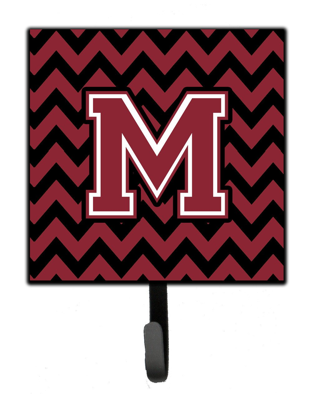 Letter M Chevron Garnet and Black  Leash or Key Holder CJ1052-MSH4 by Caroline's Treasures