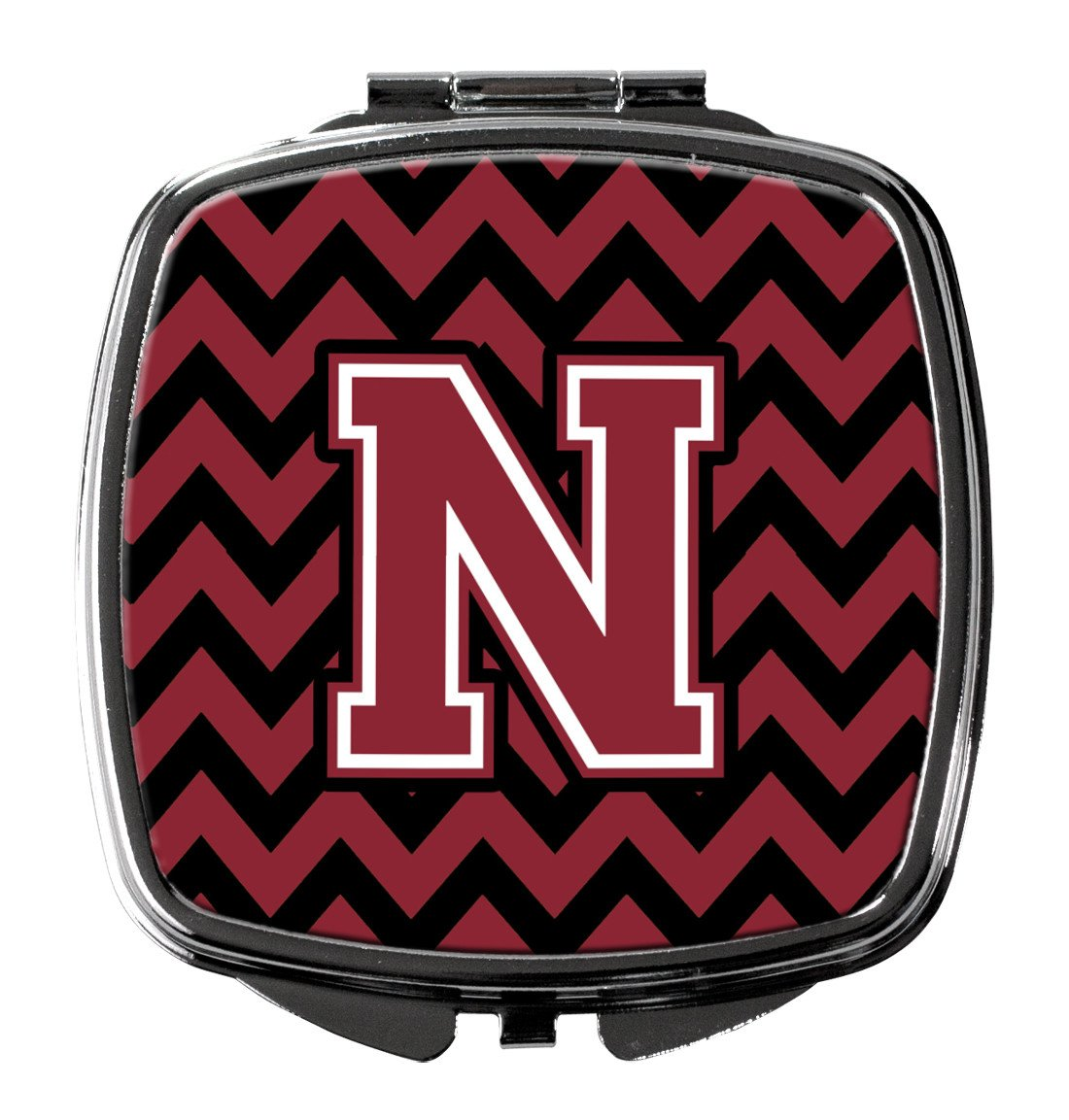 Letter N Chevron Garnet and Black  Compact Mirror CJ1052-NSCM by Caroline's Treasures