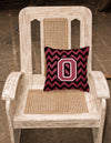 Letter O Chevron Garnet and Black  Fabric Decorative Pillow CJ1052-OPW1414