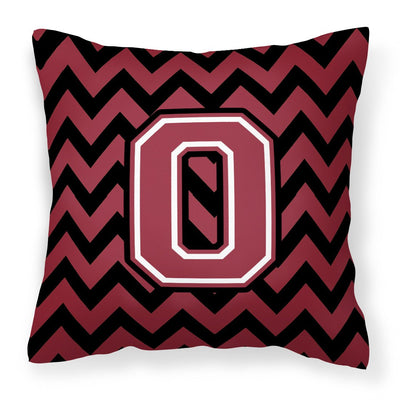 Buy this Letter O Chevron Garnet and Black  Fabric Decorative Pillow CJ1052-OPW1414